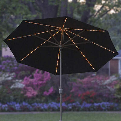 9' Lighted Market Umbrella - Black