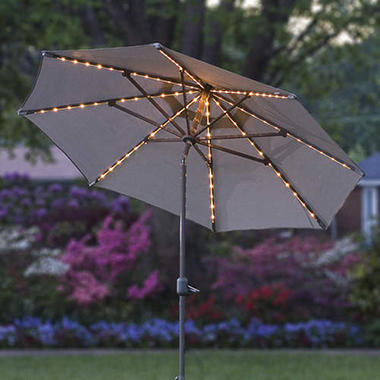 9' Lighted Umbrella - Taupe/Beige Ribbed