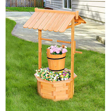 Sunjoy Crowley Natural Finish Wishing Well