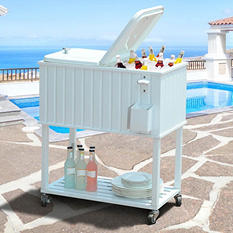 Sunjoy 60 Quart Wheeled Beverage Cooler in Faux White Wood Finish