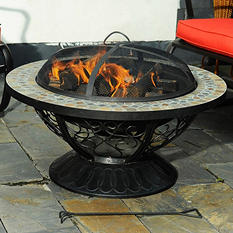 """Sunjoy Atwood 30"""" Slate Top Fire Pit"""