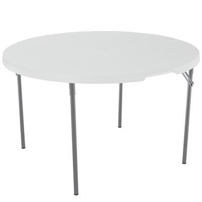 "Lifetime 48"" Round Fold-in-Half Table, White Granite"