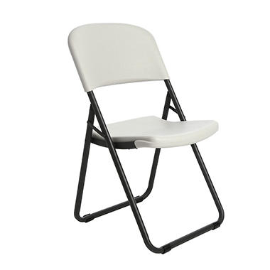 Lifetime Loop-Leg Contoured Folding Chair - White Granite - 4 pack