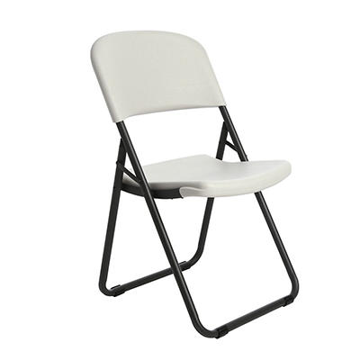 Lifetime Commercial Grade Loop-Leg Contoured Folding Chair, White Granite - 4 pack