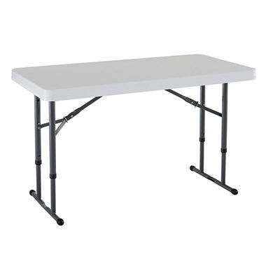 Lifetime 4' Adjustable Commercial Grade Folding Table, White Granite