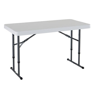 Lifetime 4' Commercial Grade Adjustable Folding Table, White Granite