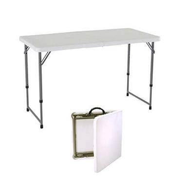 Lifetime 4' Adjustable Fold-in-Half Table - White