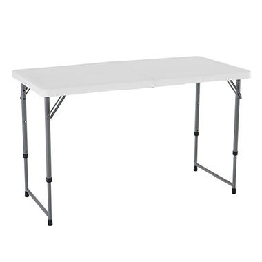 Lifetime 4' Light Commercial Adjustable Fold-in-Half Table - White Granite