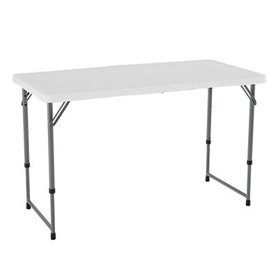 Lifetime 4' Light Commercial Adjustable Fold-in-Half Table, White Granite