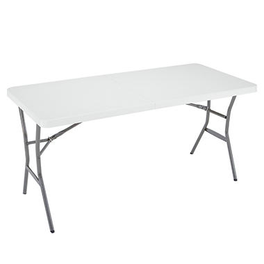 Lifetime 5' Light Commercial Fold-In-Half Table - White Granite