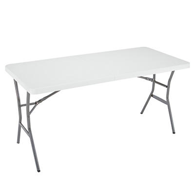 Lifetime 5' Light Commercial Fold-In-Half Table, White Granite