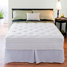 "Night Therapy iCoil 13"" Deluxe Euro Boxtop Spring Queen Mattress and SmartBase Bed Frame Set"