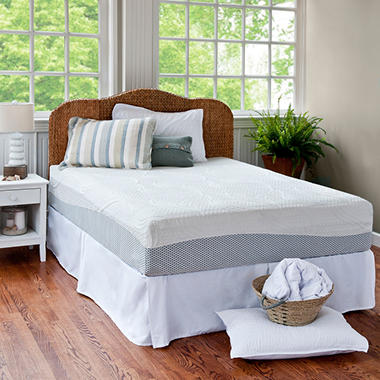 "12"" Night Therapy Pressure Relief Memory Foam Mattress & Bed Frame Set - Queen"