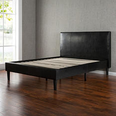 Expresso Faux Leather Platform Bed Assorted Sizes