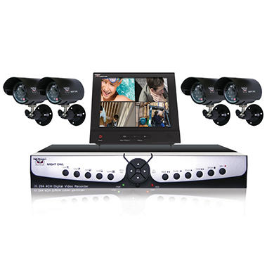 "Night Owl 4 Channel H.264, 500GB Hard Drive Security System with 4 x 30' Outdoor Night Vision cameras and 8"" Color LCD Monitor"