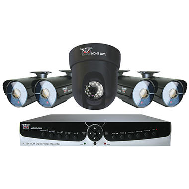 Night Owl 8 Channel Security System with 1TB Hard Drive, 4 600TVL Cameras,  Pan/Tilt Camera, and 100' Night Vision