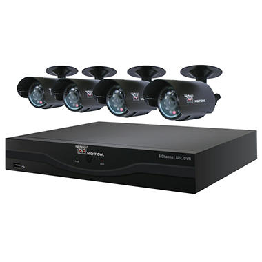 Night Owl BUL-84500 Security System with 8 Channel 500GB DVR and 4 x 420TVL Surveillance Cameras with 30' Night Vision