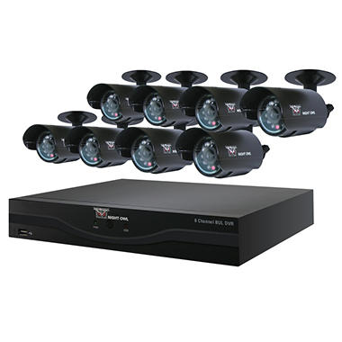 Night Owl 8 Channel Security System with 500GB Hard Drive and 8 420TVL 30' Night Vision Cameras