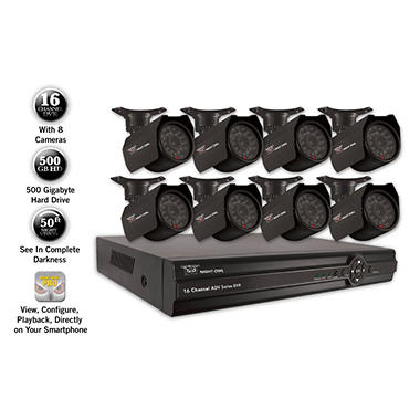 Night Owl 16 Channel Full D1 Security System with 500 GB Hard Drive, 8 420TVL Cameras, and 50' Night Vision