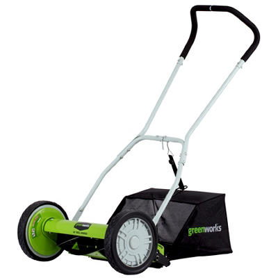"GreenWorks 25052 16"" Push Reel Lawn Mower With Grass Catcher"
