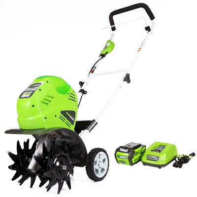 "GreenWorks 27062 G-MAX 40V 10"" Cordless Cultivator with 4.0Ah Battery and Charger"