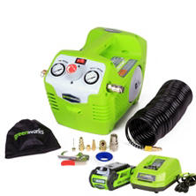 GreenWorks G-MAX 40V 115 PSI Cordless Air Compressor with 2AH Battery and Charger