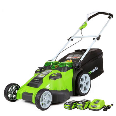 GreenWorks 25302 G-MAX 40V Li-Ion Twin Force Lawn Mower, Dual Blade