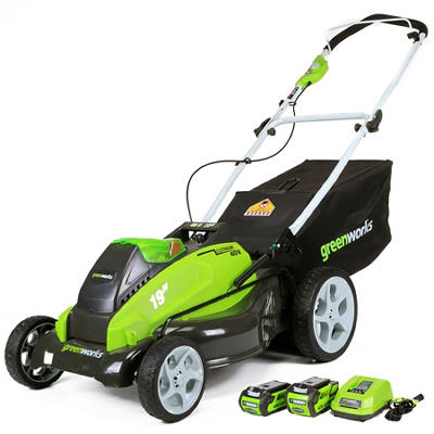 "GreenWorks 25223 G-MAX 40V 19"" Cordless Lawn Mower with 2 Batteries and a Charger"