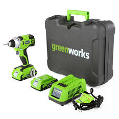 GreenWorks 37042 G-24 24V Cordless DigiPro Impact Driver, (2) 2Ah Batteries, Charger