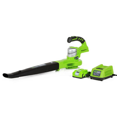 GreenWorks 24352 G-24 24V 130MPH Cordless Sweeper with 2AH Battery and Charger