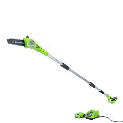 """GreenWorks 20352 G-24 24V  8"""" Cordless Pole Saw with 2AH Battery and Charger Inc."""
