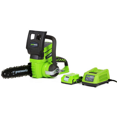 """GreenWorks 20362 G-24 24V  10"""" Cordless Chainsaw with 2AH Battery and Charger Inc."""