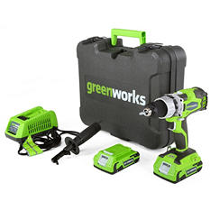 GreenWorks 32032 G-24 24V Cordless DigiPro 2 Speed Compact Drill, (2) 2Ah Batteries, Charger