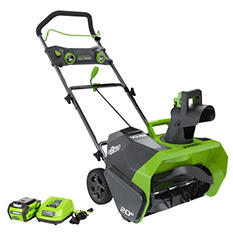 "GreenWorks G-MAX 20"" 40V Cordless Snow Thrower w/ 4AH Battery and Charger"