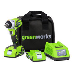 GreenWorks 3800302 G-24 Cordless Impact Wrench, (2) 2.0 ah batteries & charger