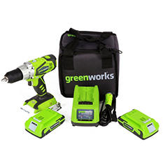 GreenWorks 37012B G-24 Compact Drill with (2) 24V Batteries and a Charger