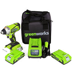 GreenWorks 37012B G-24 24V 2 speed compact drill with 2-24V batteries and Charger