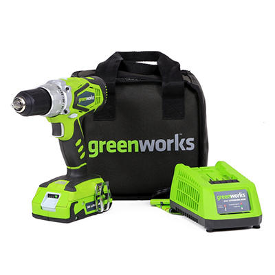 GreenWorks 37012C G-24 24V 2 speed compact drill with 1-24V batteries and 1 charger