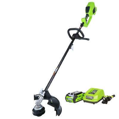 """GreenWorks 2100702 G-MAX 40V Digipro 14"""" String Trimmer with 2AH Battery and Charger Included - Attachment Capable"""
