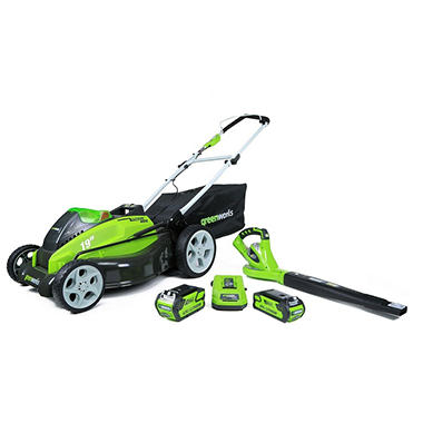 Greenworks G Max 40v 19 Quot Lawn Mower And Blower Combo Lawn