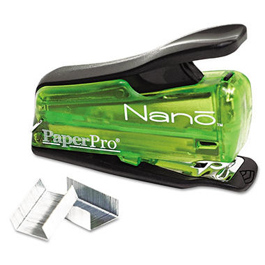 Accentra Nano Miniature Stapler, 12-Sheet Capacity, Translucent Green