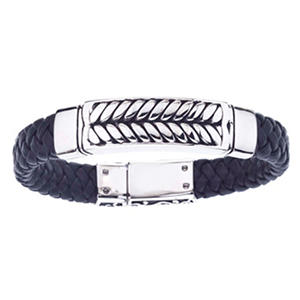 Men's Braided Black Leather Bracelet in Stainless Steel