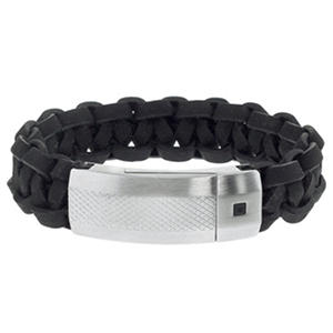 Men's Black Leather and Stainless Steel Bracelet with Magnetic Closure