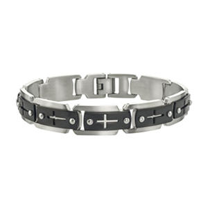 Men's Cross Cutout Bracelet in Stainless Steel