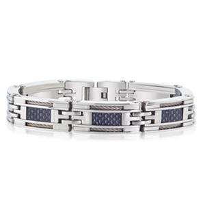 Men's Cable Wire Carbon Fibre Bracelet in Stainless Steel