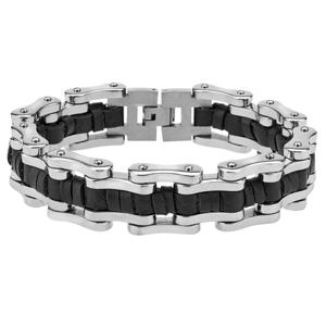Men's Cable Wire Carbon Fibre Link Bracelet in Stainless Steel