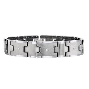 Men's Diamond Tungsten Carbide Bracelet Crisscross Finish
