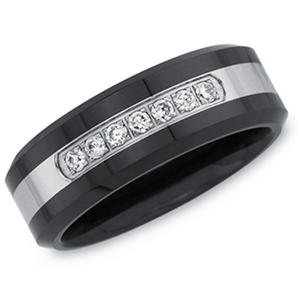 Men's Black Ceramic and Stainless Steel Diamond Band