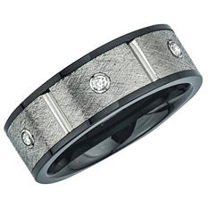 Men's Diamond Crisscross Finish Band in Ceramic and Stainless Steel