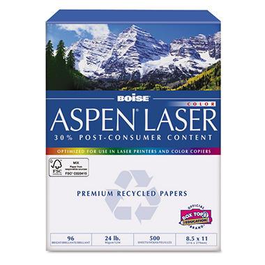 Boise - ASPEN Laser Paper, 96 Brightness, 8-1/2 x 11, White - 500 Sheets/Ream